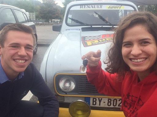 Aurélien et Eléonore voiture sponsors Brasserie des Dunes de Flandre